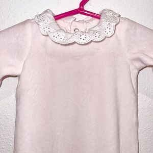 Edgehill collection pink velour eyelet footie